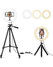 """$30 » 10"""" Selfie Ring Light with 2 Tripod Stands & Phone Holder, Dimmable LED Circle Light for Makeup/Photography/YouTube Videos/Vlog/Live Streaming, Compatible with iPhone & Android"""