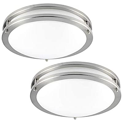 Luxrite LED Flush Mount Ceiling Light, 12 Inch, Dimmable, 4000K Cool White, 1380 Lumens, 18W Ceiling Light Fixture, Energy Star & ETL - Perfect for Kitchen, Bathroom, Entryway, and Closet (2 Pack) - EASY INSTALL - No hassle installation with a flush mount light fixture which can be set up in a few easy steps! Just follow the installation guide to connect the wiring on the back of the LED light fixture and screw the light fixture in using the supplied screws and you are all done! BUILT IN LED - Each LED ceiling light comes integrated with 32 LED chips to provide bright, vivid light and have a long lasting life of 50,000 hours. You won't have to think about replacing or buying light bulbs for the next 45 years! DIMMABLE - Control the brightness of your flushmount LED ceiling light with the ability to reduce from 100-5% lighting output. Set your flush mount LED lights according to your mood and take delight in a pleasant atmosphere every time. - bathroom-lights, bathroom-fixtures-hardware, bathroom - 41QL0Wi3K7L. SS400  -