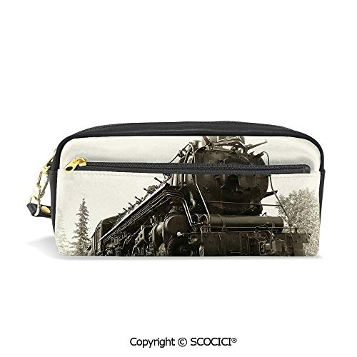 PU Leather Student Pencil Bag Multi Function Pen Pouch Antique Northern Express Train Canada Railways Photo Freight Machine Print Office Organizer Case Cosmetic Makeup Bag ()