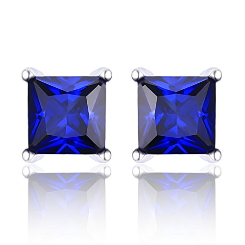 Created Sapphire Sterling Silver Earrings - 4