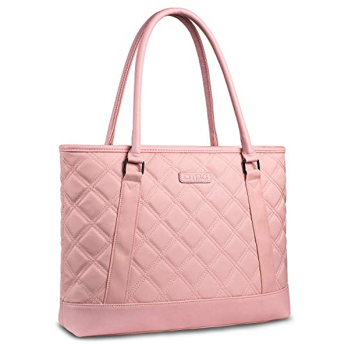 FOSTAK Bolsos totes/Bolso de hombro para mujer Bolso de viaje Messenger Bag elegante Bolsas portátiles para negocio que trabaja Notebook/ordenador portátil de 15.6 Inch,Rosa