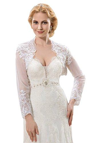 Sisjuly Women's Vintage Long Sleeve Lace Bridal Jacket 14 Ivory