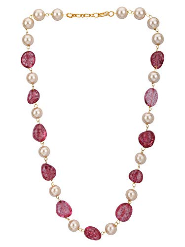 (Efulgenz Indian Bollywood Pink Ruby Tourmaline Pearl Beaded Strand Bridal Necklace Wedding Jewelry)