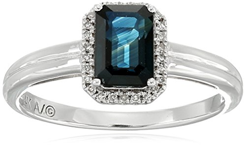 14k White Gold Emerald Cut Sapphire with Diamond Accent R...