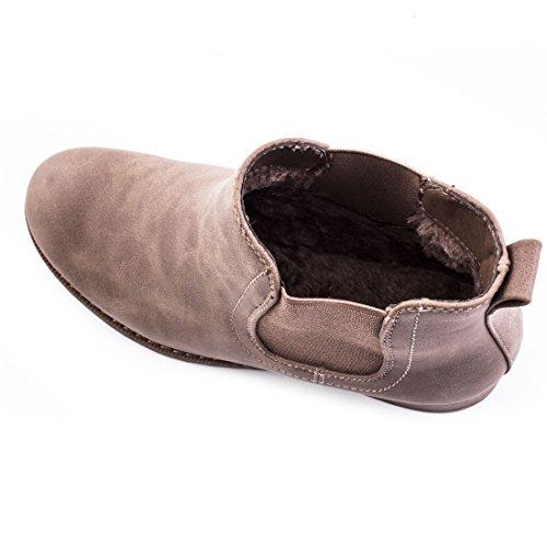 Damen Stiefeletten Boots Kurzschaft Schuhe in hochwertiger Lederoptik mit Gummibund Khaki