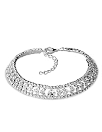 Womens Anklet Bracelet Clear Crystal Heart Inlay Crystal Ankle Adjustable Lobster Clasp11 inch Sale