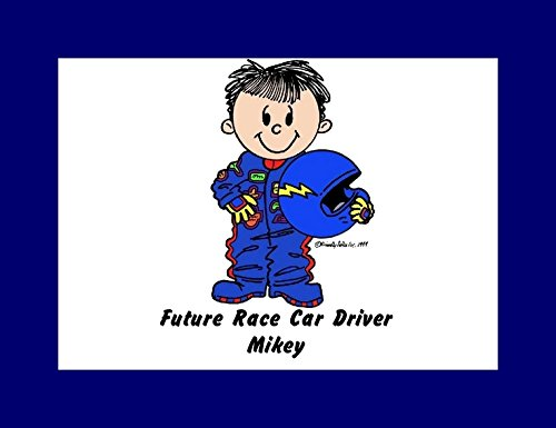 (Personalized Friendly Folks Cartoon Print w/Mat - Ready to Frame Future Race Car Driver - Male Great for Children, Room décor, Nursery)