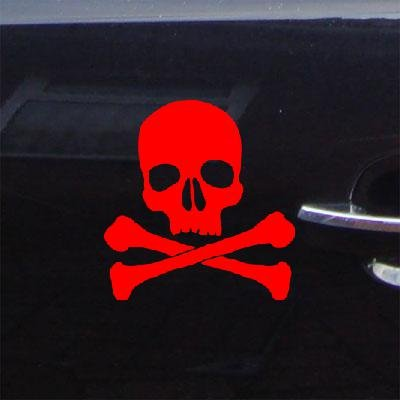 Red Adhesive Vinyl Bike Auto Vinyl Notebook Die Cut Decor Wall Art Skull And Crossbones Car Decal Sticker Laptop Window