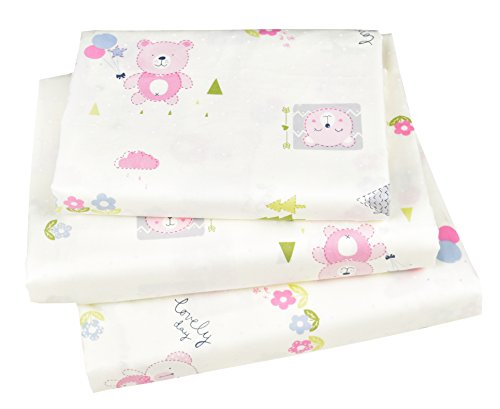 J-pinno Happy Bear Pink Twin Sheet Set for Kids Girl Children,100% Cotton, Flat Sheet + Fitted Sheet + Pillowcase Bedding Set by J-pinno
