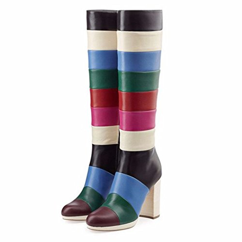 Amy Q Colorful Round Toe Side Zipper Knee High Heel Boots Custom Big Size Womens Shoes For Casual Place PU White US 8 (Patchwork Knee Boot Platform)