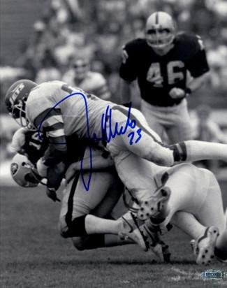 - Joe Klecko signed New York Jets 8x10 Photo B&W sacking Jim Plunkett (New York Sack Exchange)- Hologram - Steiner Sports Certified
