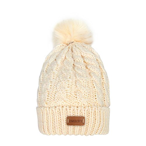 50c32f431 OMECHY Women's Winter Knit Hat Trendy Slouchy Beanie with Warm Fleece  Lining Skull Chunky Soft Thick Cable Ski Cap, Beige