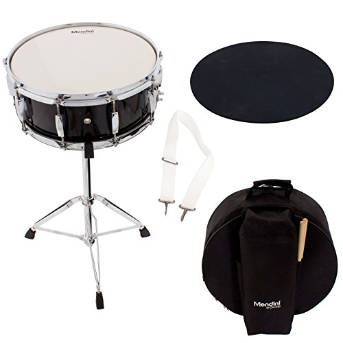 Student Drum Kits (Mendini Student Snare Drum Set with Gig Bag, Sticks, Stand and Practice Pad Kit, MSN-1455PBK)
