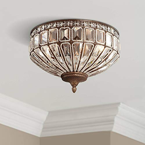 Ibeza Ceiling Light Flush Mount Fixture Square Cut Crystal Mocha Brown 15.5