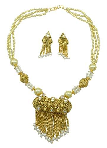 Banithani Ethnic Traditional Goldtone Strand Necklace Set Wedding Designer Bead Jewelry