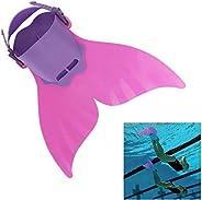 Mermaid Swim Fins for Kids Monofin One-Piece Cartoon Swimming Tail Flipper Swimming Training Equipment (Pink,