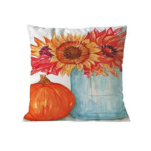 GOVOW Thanksgiving Day Thanks Gifts Halloween Pumpkin Cushion Cover Square Pillow Case -