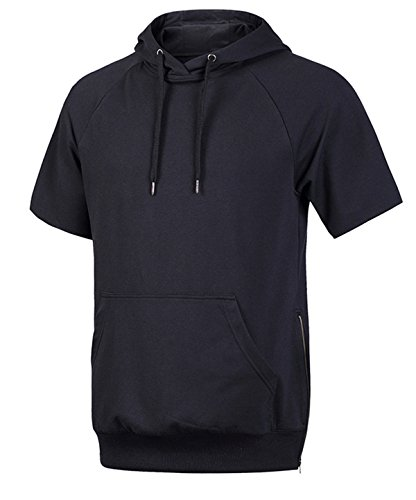 Climbing Hooded Pullover - Hsumonre Men's Drawstring Hoodies Pullover Hip Hop Workout Short Sleeve Sweatshirts with Side Zip Pocket (L, Black)