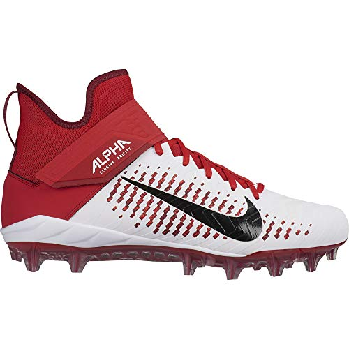 Nike Men's Alpha Menace Pro 2 Mid Football Cleat White/Black/University Red Size 11 M US