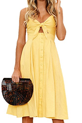 Jennyarn Sexy Backless Midi Dresses for Women Spaghetti Strap Lace up Outfit Dress Yellow S