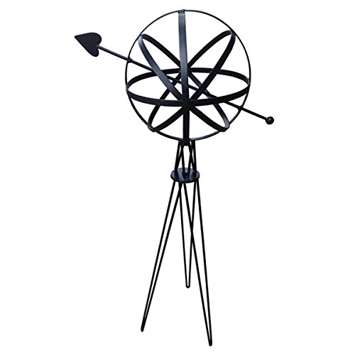 - Rome Industries Black Sundial Sphere with Hairpin Base