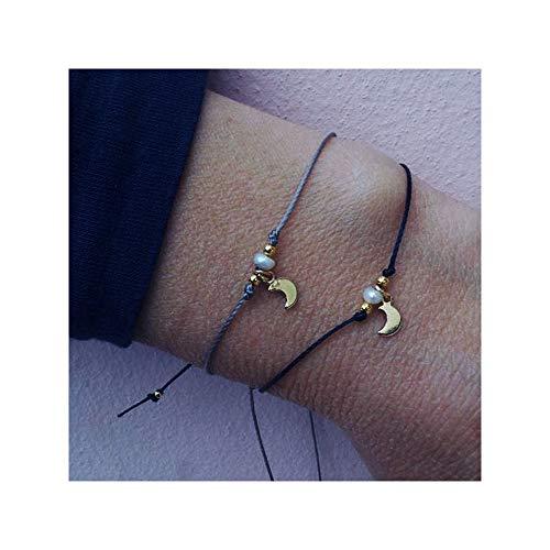 J MENG Handmade Heart Circle Pearl Bracelet Friendship Moon Shell Link Silk Bracelet for Women Girl 2pcs (Moon)