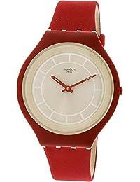 Swatch Skinhot SVUR100 Red Leather Swiss Quartz Fashion Watch