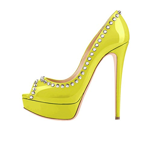 15 Heel Pumps High 4 Rivets FSJ Dress Size Party with Women Toe Shoes Platform Peep Lemon w6OEOxq