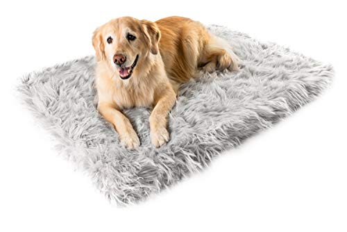 Treat A Dog Puprug Faux Fur Memory Foam Orthopedic Bed, Premium Memory Foam Base, Ultra-Soft Faux Fur Cover, Modern and Attractive Design (Small/Medium, Rectangle Gray)