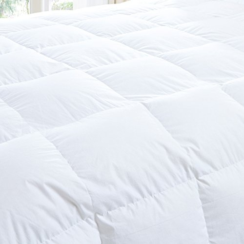 White Goose Down Comforters King/Cal King Size 600 Thread Count 100% Cotton 700 + Fill Power Shell Down Proof-Solid White Hypo-allergenic with Corner Tabs by SHEONE (Image #2)