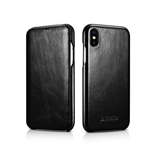 Compatible 2018 New iPhone Xs Max, iPhone 6.5 inch Case, ICARER Classic Series, Cowhide Leather Cases for Apple iPhone Xs Max, 100% iPhone Xs Max Leather Flip Case, Black (Pure Mobile Luxury Phone Black)