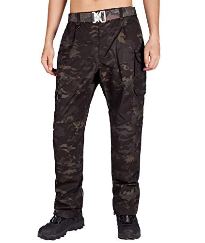 ITALY MORN Men's Survivor Casual Cargo Pant Relaxed Fit Military Outdoor (28W x 32L, Black Camo 19)