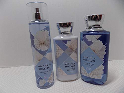 Bath and Body Works One in a Million (Jasmine, tuberose oil, gardenia, pink pepper, cashmere musk) 8 oz Body Lotion, 8 oz fine fragrance mist, 10 oz shower gel - 3 pieces