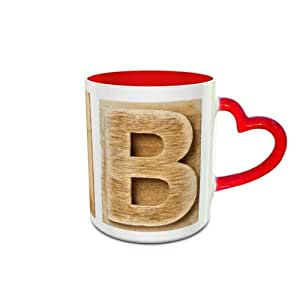 White and Red Heart Handle Ceramic Mug with Wooden Colored Alphabet B Design 469