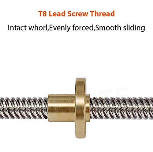 Robocraze 3D Printer Trapezoidal Screw THSL-500-8D Lead Screw Dia 8mm Thread 8mm Length 500mm with Copper Nut (Length: 500 mm), Set of 2   3D Printer Project