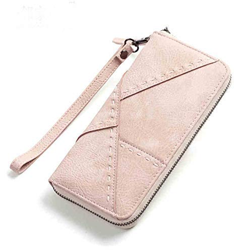 New Wallet Female Long Section Japanese and Korean Version of The Student Retro MultiCard MultiFunction Zipper Clutch Bag (color   Pink) Ladies Purses (color   Pink)