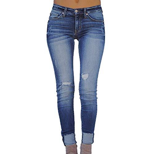 Waiimak 2019 Womens Juniors Distressed Ripped Destroyed Jeans Skinny Moto Leggings Pencil Pants (Blue,M)
