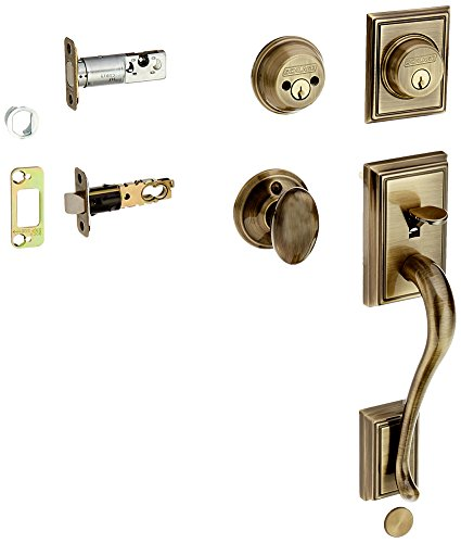 Schlage F62-ADD-SIE Double Cylinder Addison Handleset with Siena Interior Knob f, Antique Brass