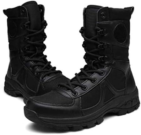 サイドジッパーラバーソールの滑り止めの耐久性に優れた耐摩耗性防水布は防水靴をハイキング男性と女性のための砂漠の戦闘靴 (色 : 黒, サイズ : 25.5 CM)