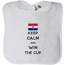 Cute Rascals Croatia Keep Calm Win The Cup Soccer Tot Contrast Trim Terry Bib
