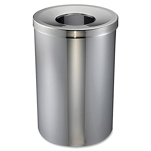 Genuine Joe Open Mouth Waste Receptacle - 30 Gal Capacity - Stainless Steel - Silver (GJO58895) by Supernon