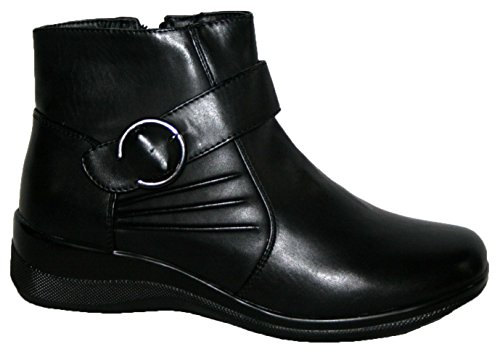 LADIES LIGHTWEIGHT BLACK SMART/CASUAL ANKLE BOOTS WITH SIDE ZIP black/buckle 7C26Zs