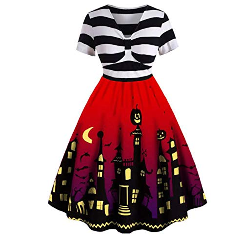 Halloween Housewife Print Dress Witch Vampire Costume Carnival Carnival Disguise Red