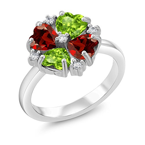 925 Sterling Silver Green Peridot and Red Garnet Ring 2.18 Ctw Heart Shape (Size 9) -