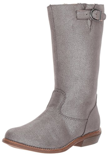 Hanna Andersson Girls' Karinne Glitter Riding Fashion Boot, Silver, 3 M US Little Kid