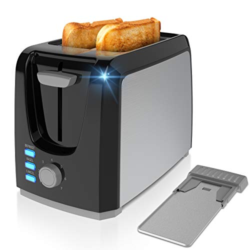2 Slice Toaster Toasts Evenly And Quickly Black Stainless Steel Bagel Toaster With 2 Wide Slots