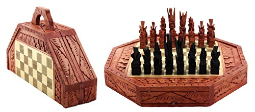 G6 Collection Bali Indonesian Wooden Handmade Unique Chess Set with 32 Chess Pieces Handcrafted (Souvenir Chess)
