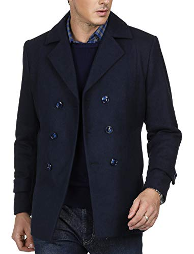 PAUL JONES Men's Winter Double Breasted Wool Blends Pea Coat Size XL Navy ()