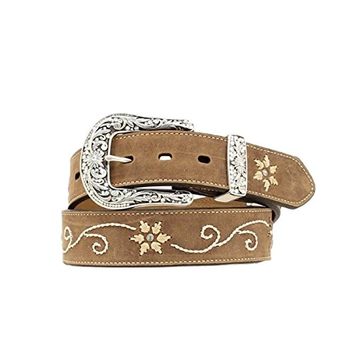 Nocona Women's Floral Stitched Leather Belt Brown X-Large