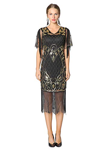 Metme 1920 Dresses for Women, 20s Party Dresses Art Deco Sequins Fringed Gatsby Flapper Cocktail Dress with 2/3 - Fringe Sleeve